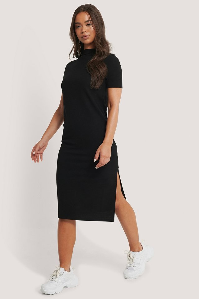 Recycled Straight Basic Side Slit Dress Outfit.