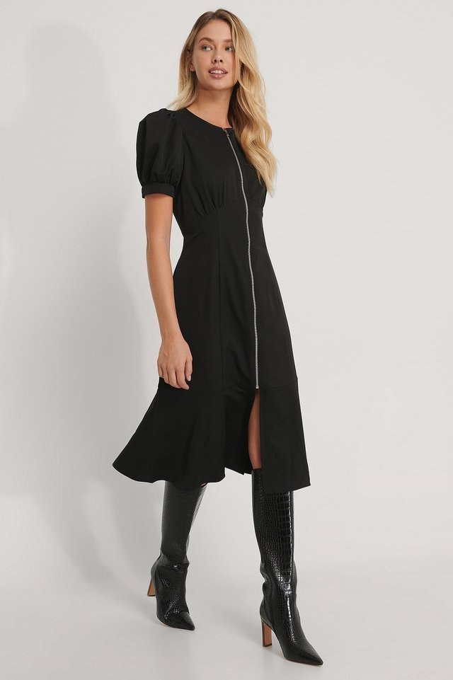 Front Zipper Midi Dress Outfit.