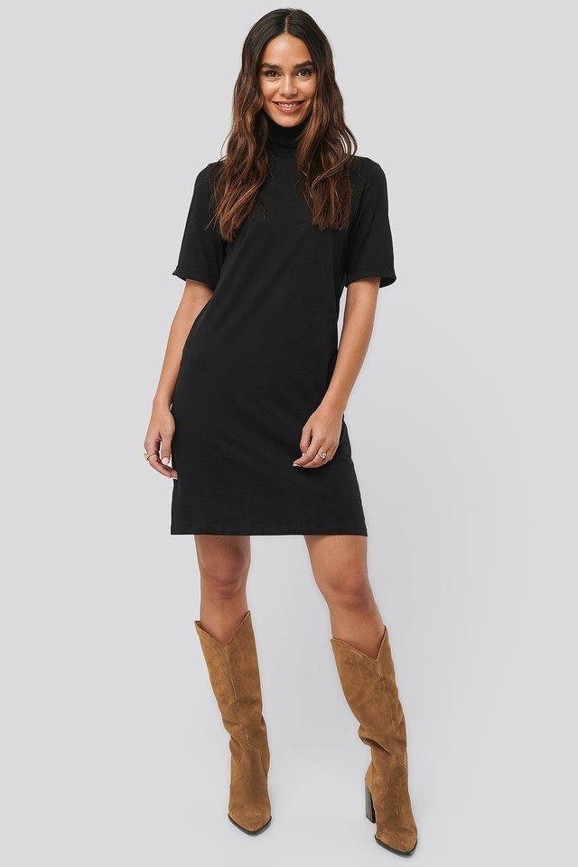 Polo Neck T-shirt Dress Outfit.