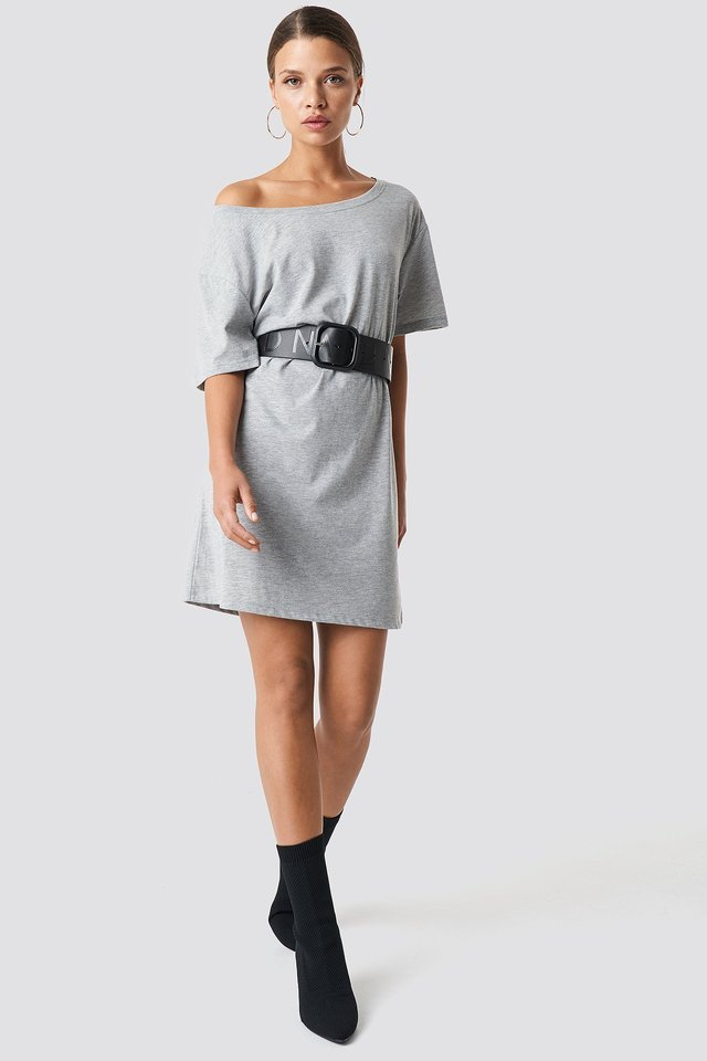 One Shoulder T-shirt Dress Outfit.