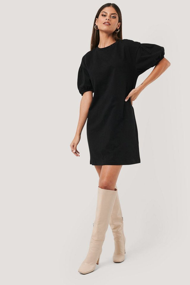 Puff Sleeve T-shirt Dress Outfit.