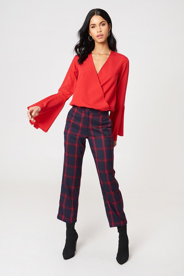 Overlap Front Blouse with Trousers