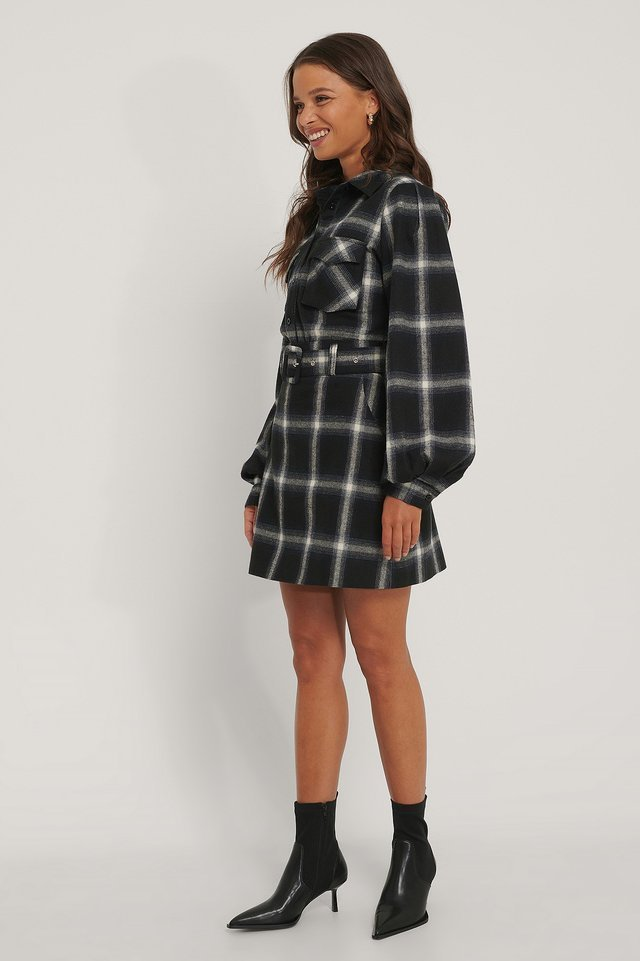 Flannel Check Mini Skirt Outfit.