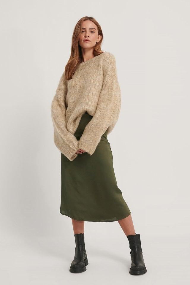 Midi Satin Skirt Outfit.
