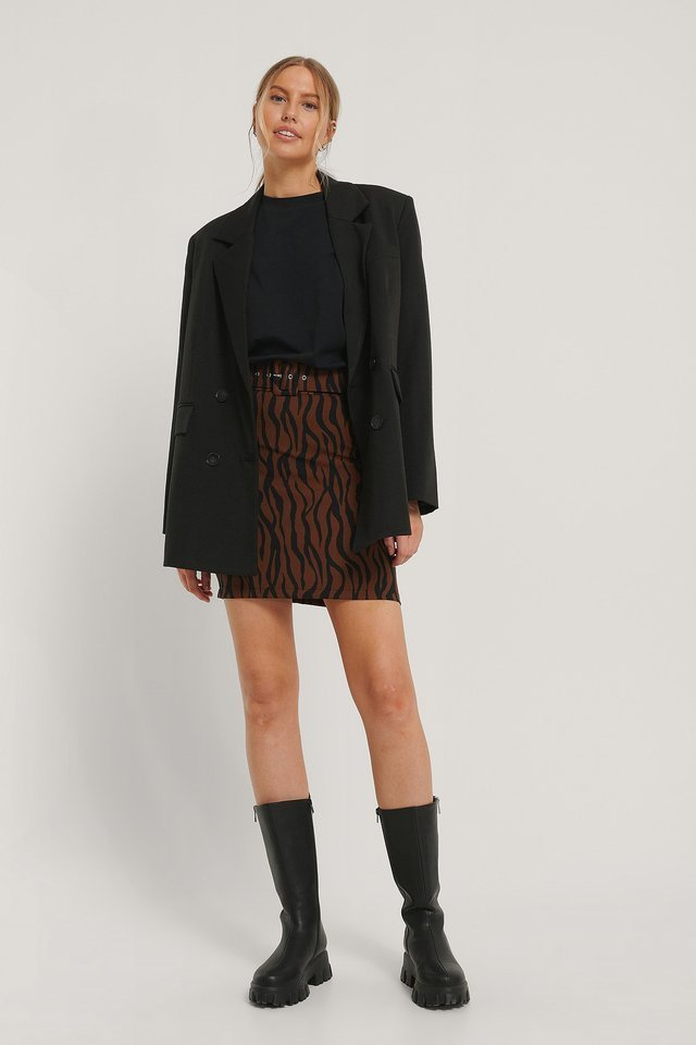 Black Check Belted Mini Skirt Outfit.