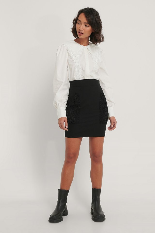 Pocket Detail Skirt Outfit.