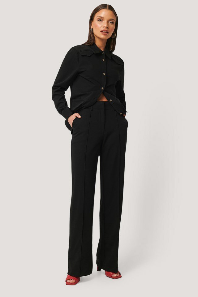 Back Slit Suit Pants Outfit.