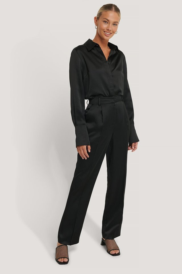 Satin High Rise Suit Pants Outfit.