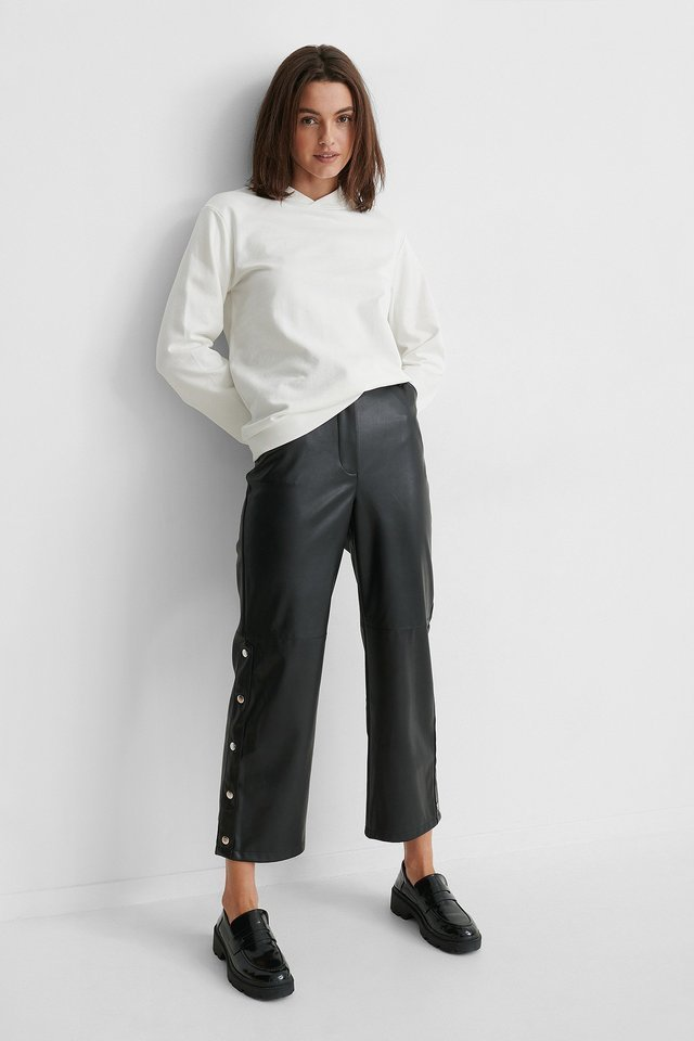 Button Detail Pu Pants Outfit.