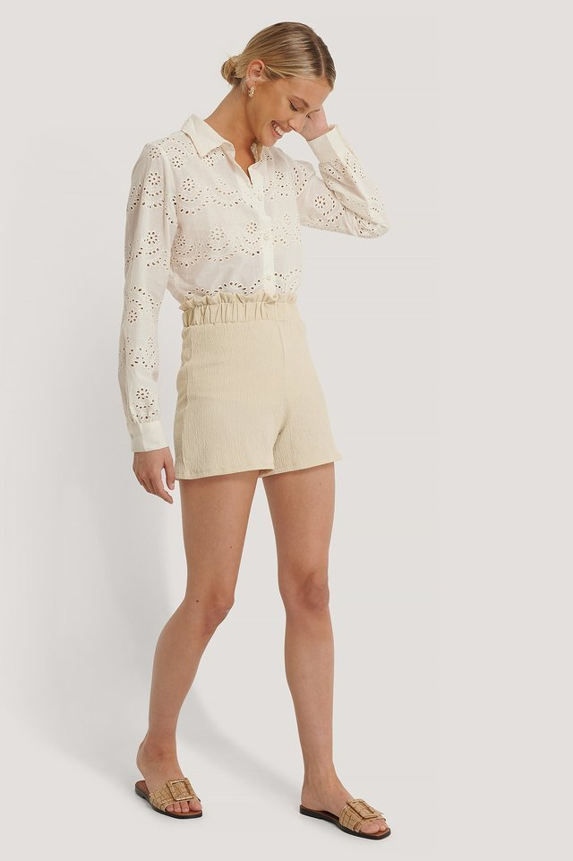 Recycled Crepe Smock Frill Shorts Outfit.