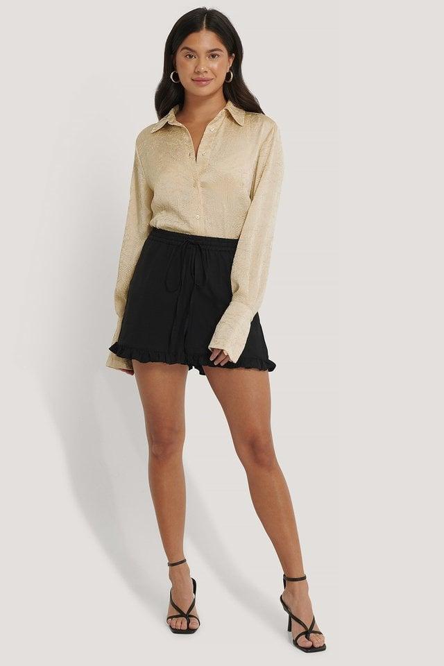 Frill Hem Shorts Outfit.