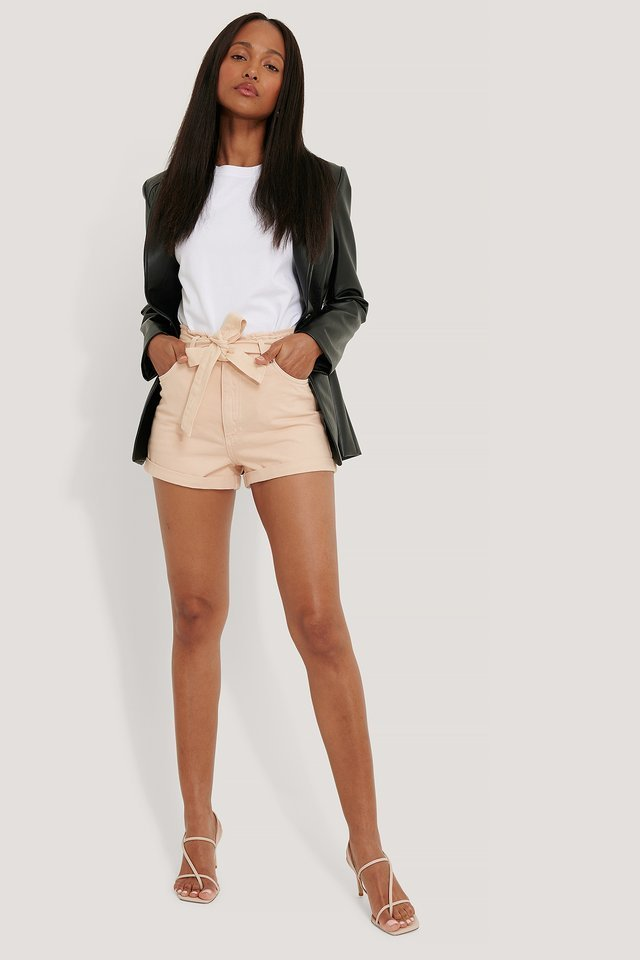 Denim Belted Shorts Outfit.