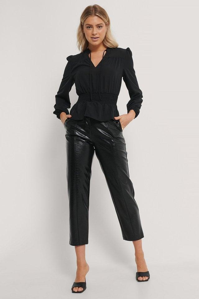 Smock Waist V-Neck Blouse Outfit.
