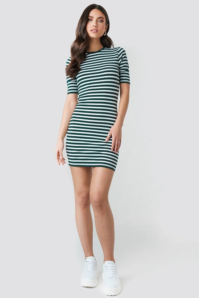 Striped Fitted T-shirt Dress Outfit.
