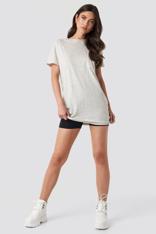 Chest Pocket T-shirt Dress Outfit.