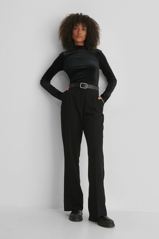 Deep Back Velvet Top Outfit.