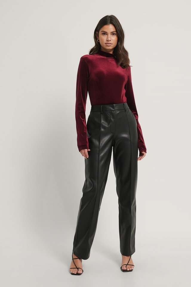 Deep Back Velvet Top Outfit.