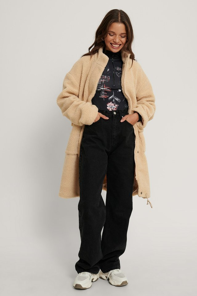 Front Pocket Drawstring Teddy Coat.