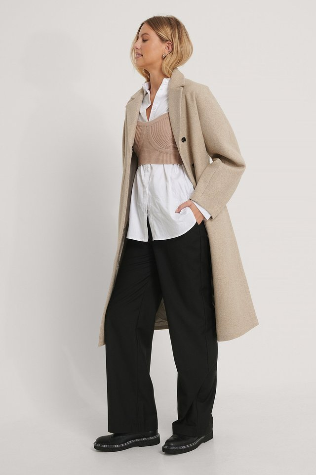 Shaped Waist Coat Beige.
