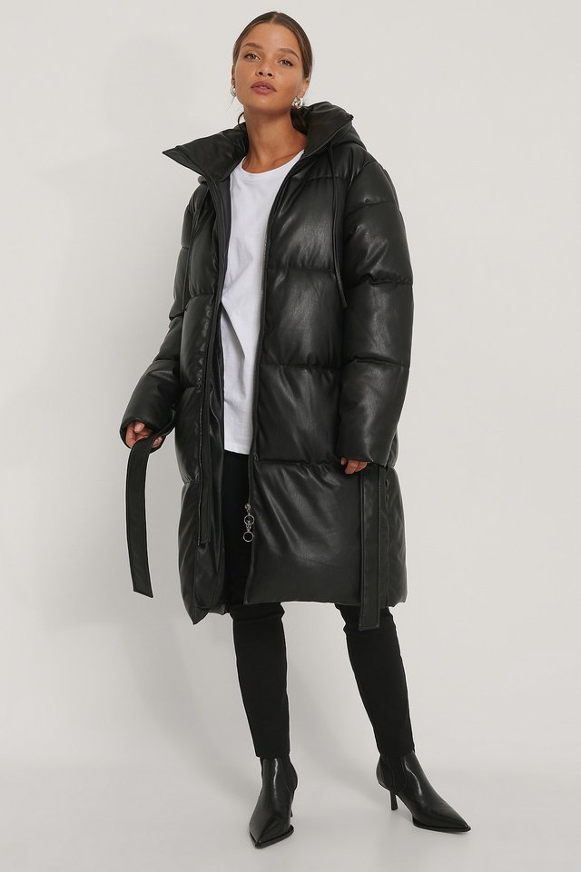 Belted PU Padded Jacket Black.