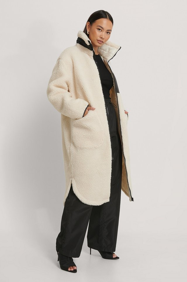 Patch Pocket Teddy Coat White.
