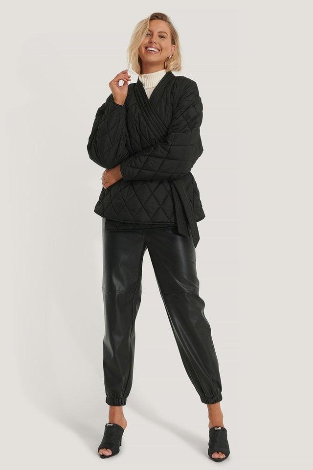 Quilted Kimono Jacket Black.