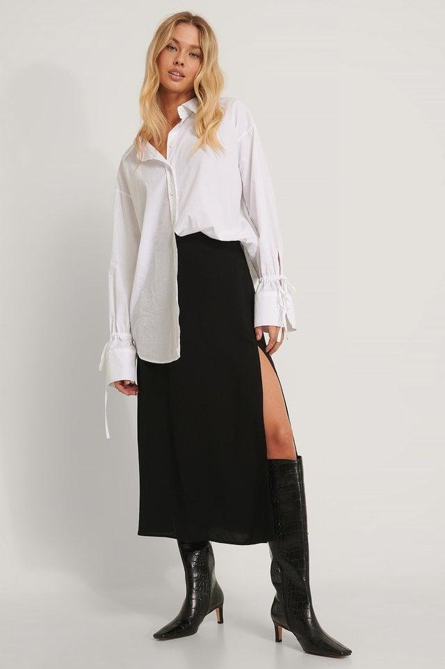 Paperwaist Pu Midi Skirt Outfit.