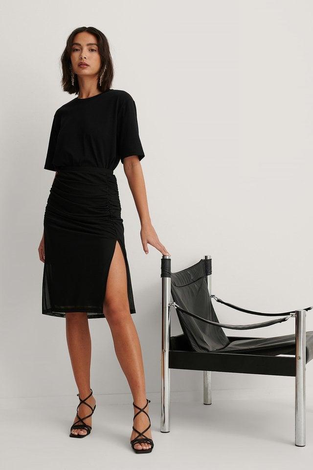 Black Rouched Mesh Midi Skirt