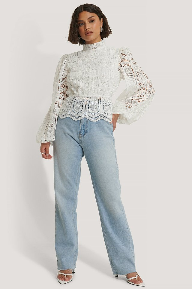 Balloon Sleeve High Neck Lace Blouse Outfit.