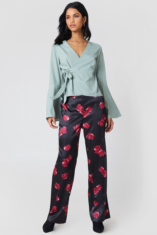 Wrap Over Top with Printed Trousers