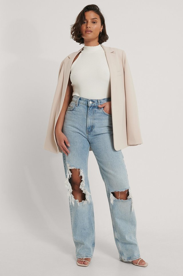 High Neck Rib Top Outfit.