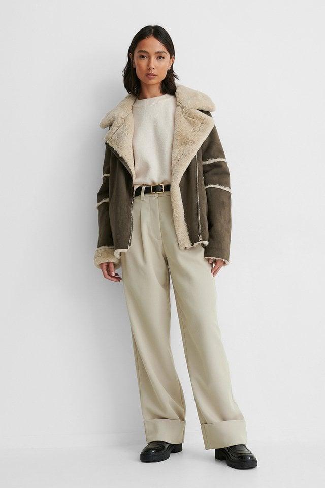 Brown Faux Fur Detail Aviator Jacket