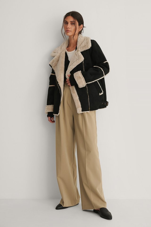 Faux Fur Detail Aviator Jacket Outfit.