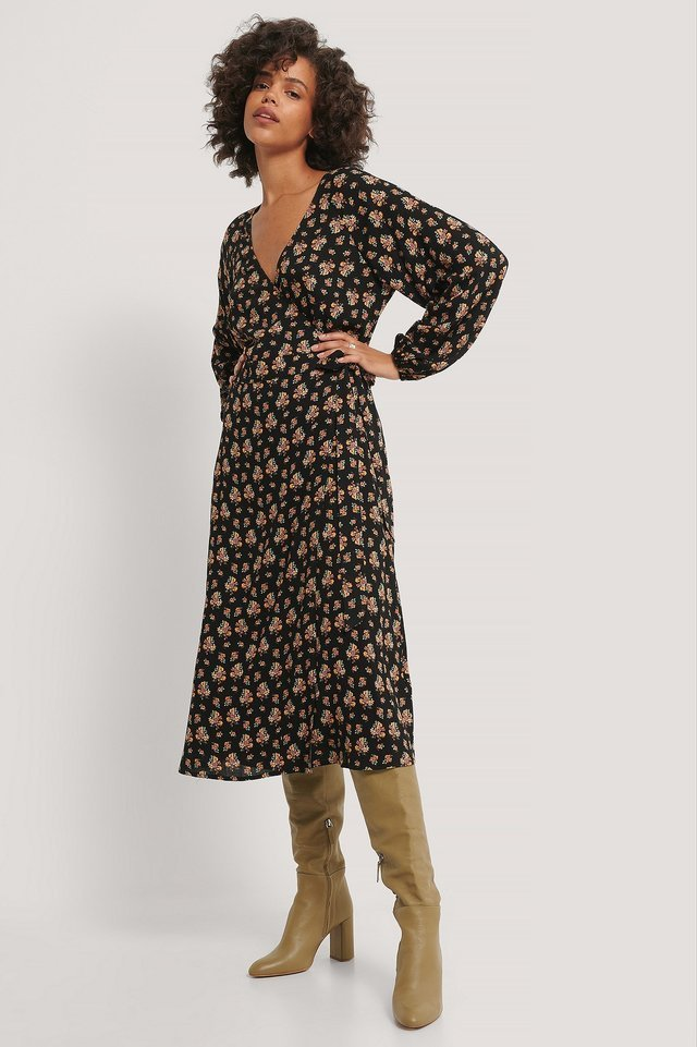 Tie Overlap Midi Dress Outfit.