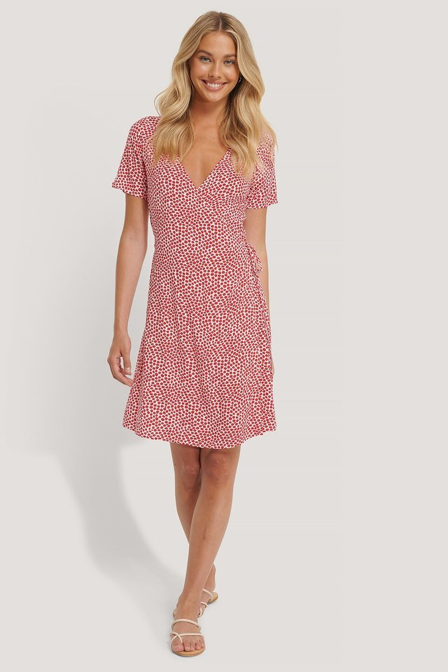 Overlap Short Sleeve Printed Dress Outfit.