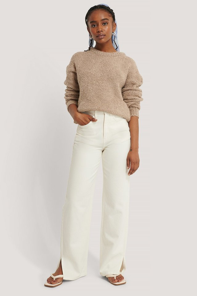 Light Beige Structured Knitted Sweater