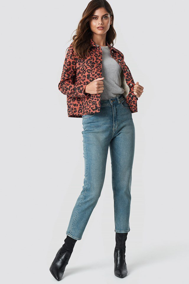 Casual Denim Pants with Red Denim Jacket