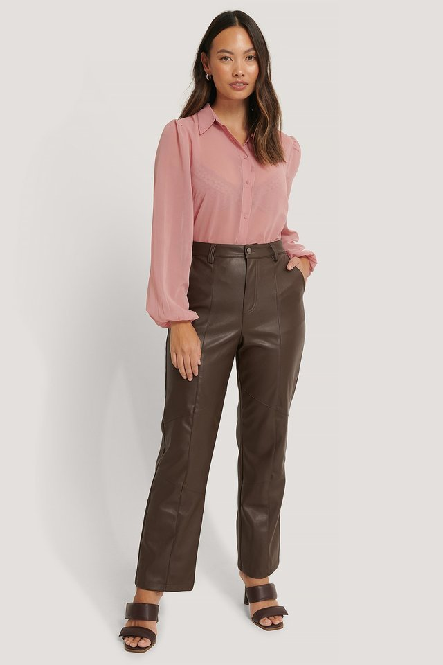 Dusty Pink Shirtblouse Met Knopen