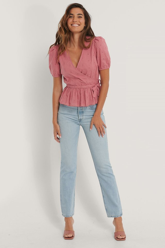 Embroidery Overlap Blouse Outfit.