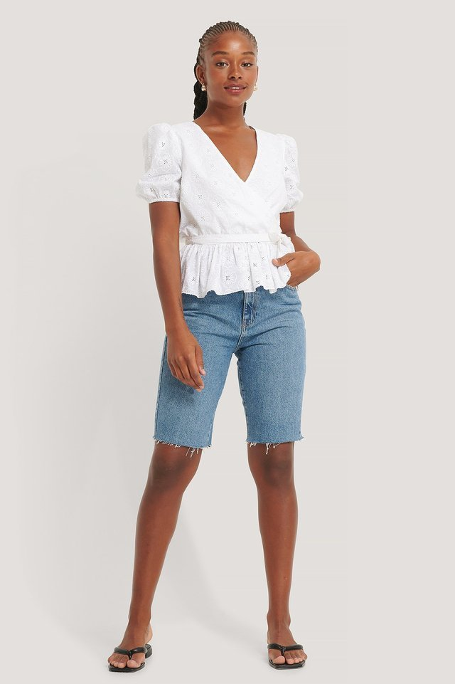 White Embroidery Overlap Blouse