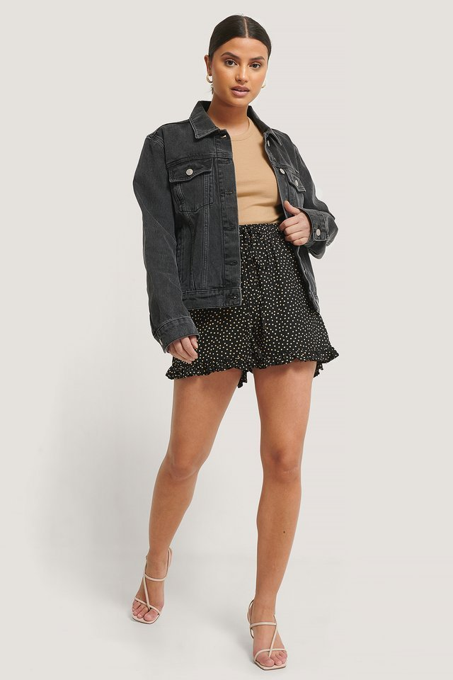 Dotted Frill Hem Shorts Outfit.