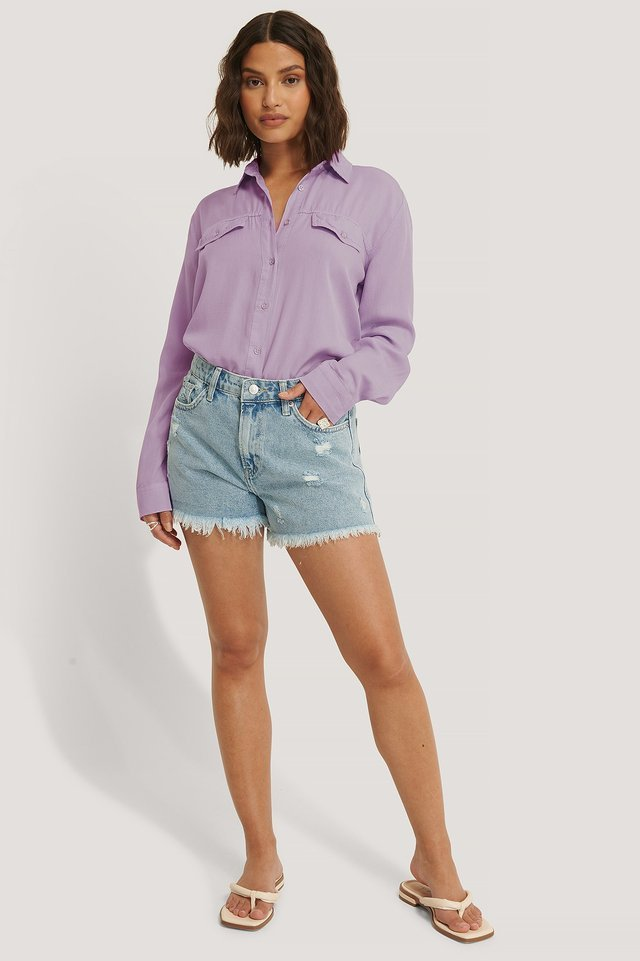 Mid Rise Denim Shorts Outfit.