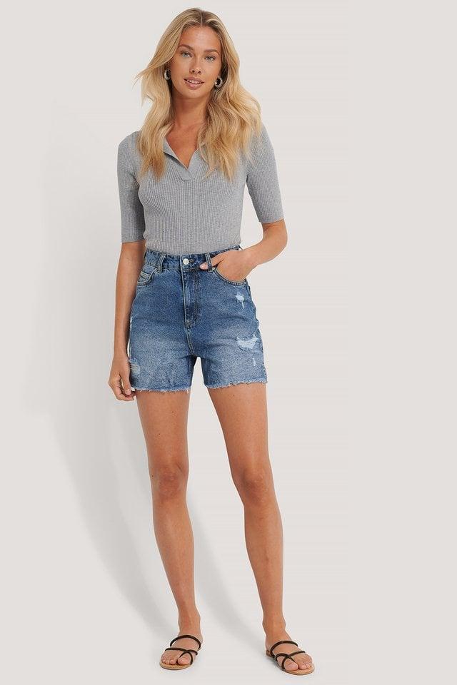 Raw Hem Denim Shorts Outfit.