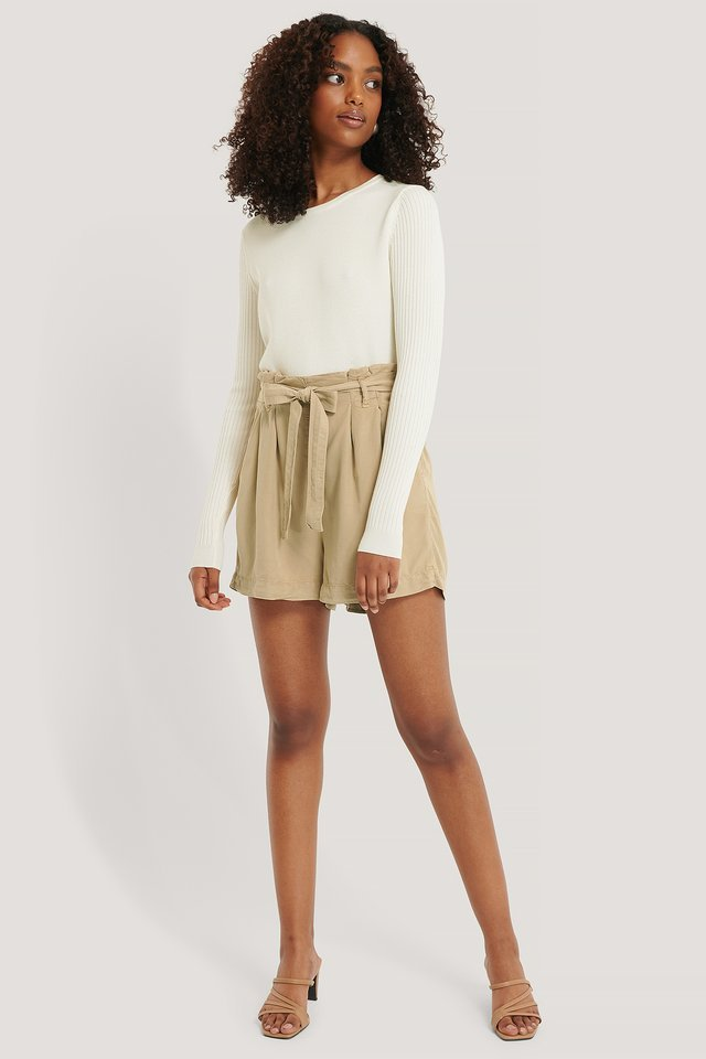 Camel Belt Shorts Outfit.
