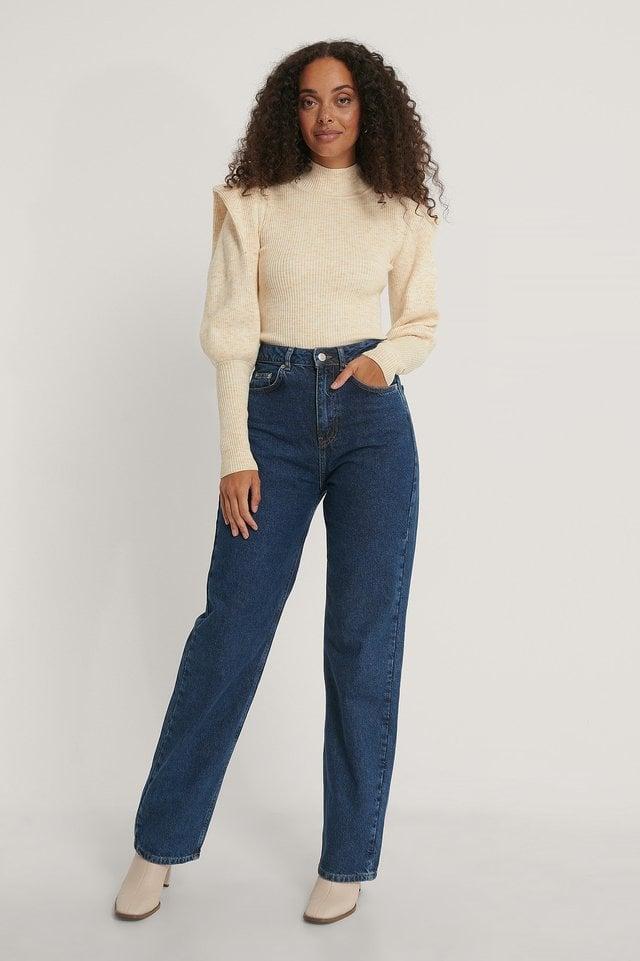 Sharp Shoulder Melange Knitted Sweater Outfit.