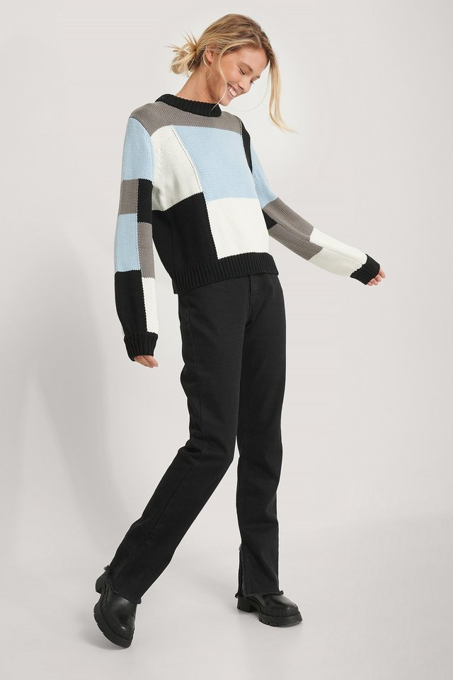 Multi Color Blocked Knitted Sweater Outfit.