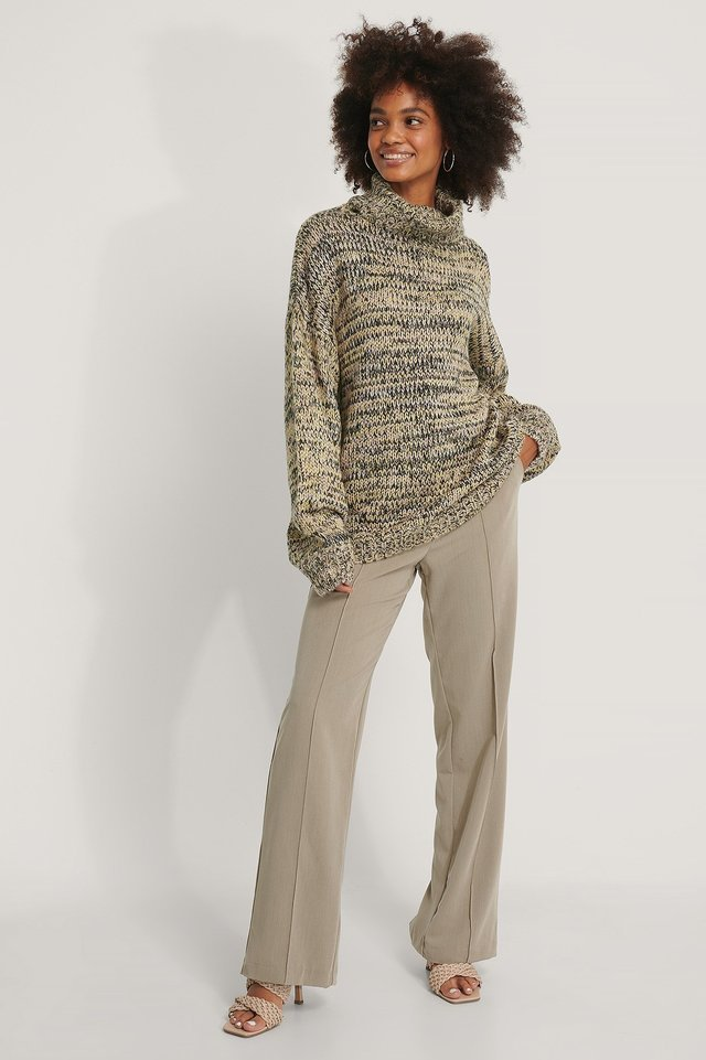 Multi Color High Neck Knitted Sweater Outfit.