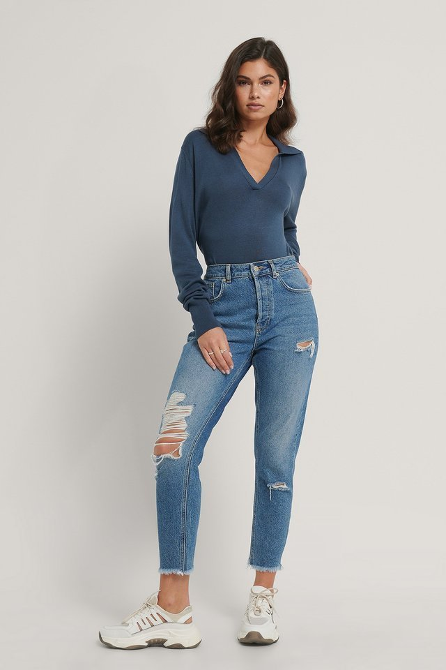 Loose Fit Collar Knitted Sweater Outfit.