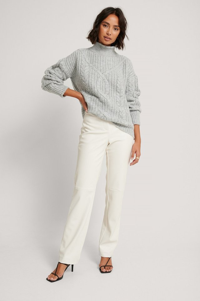 High Neck Knitted Sweater Outfit.