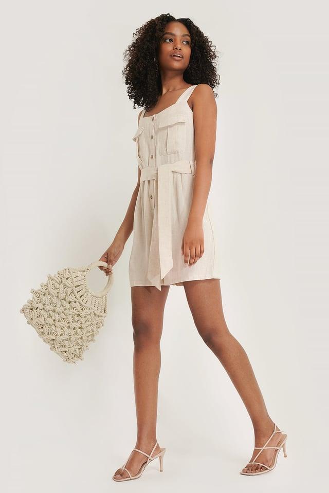 Linen Blend Playsuit Outfit.